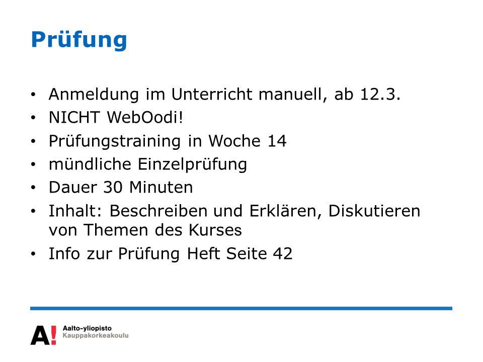Prüfung Anmeldung im Unterricht manuell, ab 12.3. NICHT WebOodi!