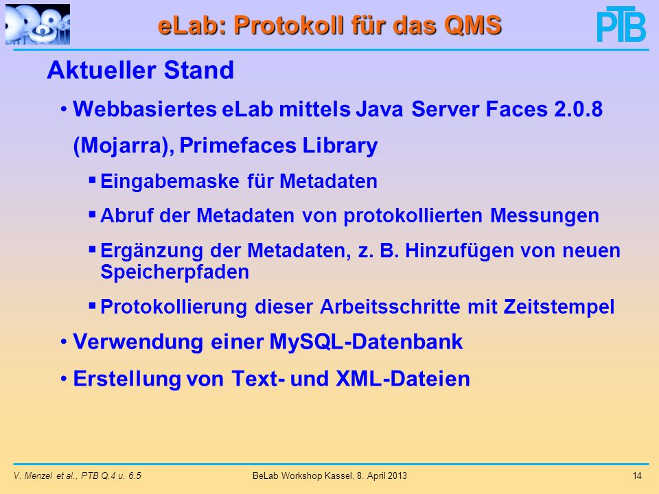 eLab: Protokoll für das QMS