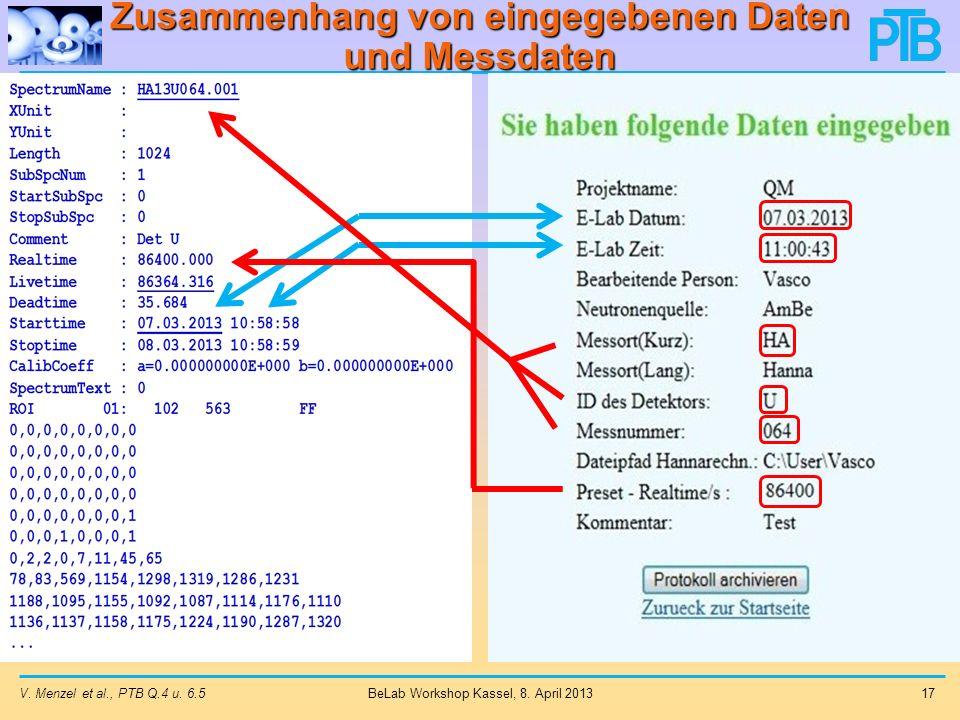 Zusammenhang von eingegebenen Daten und Messdaten