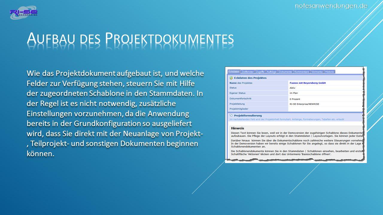 Aufbau des Projektdokumentes