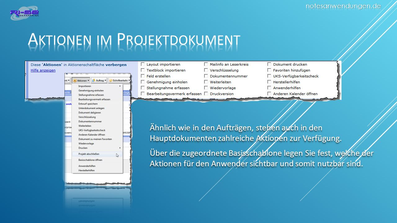 Aktionen im Projektdokument