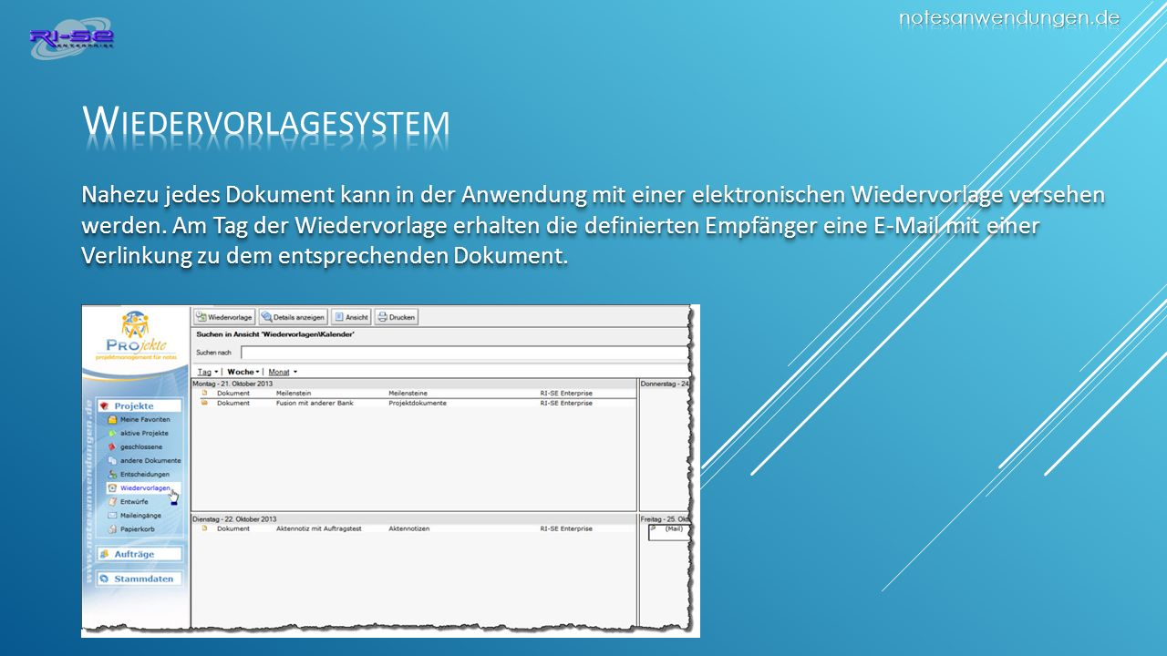notesanwendungen.de Wiedervorlagesystem.