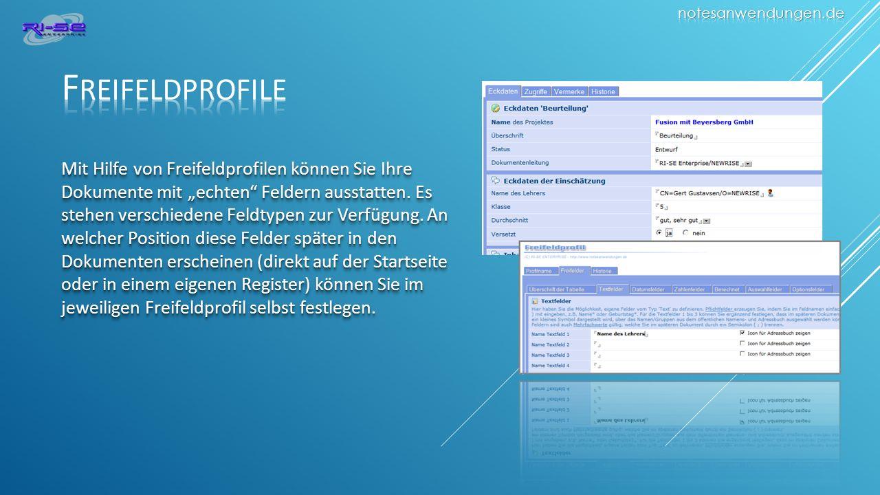 notesanwendungen.de Freifeldprofile.
