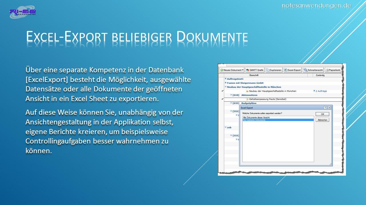 Excel-Export beliebiger Dokumente