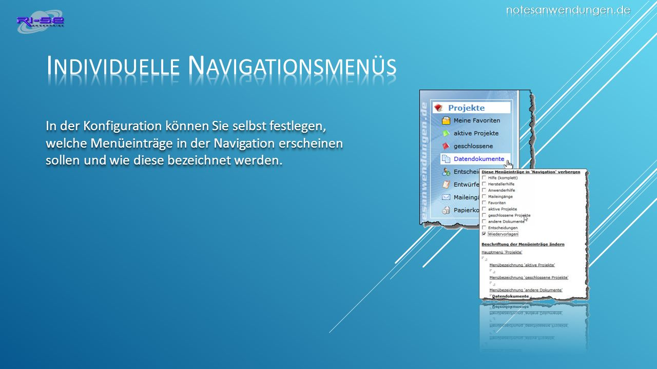 Individuelle Navigationsmenüs