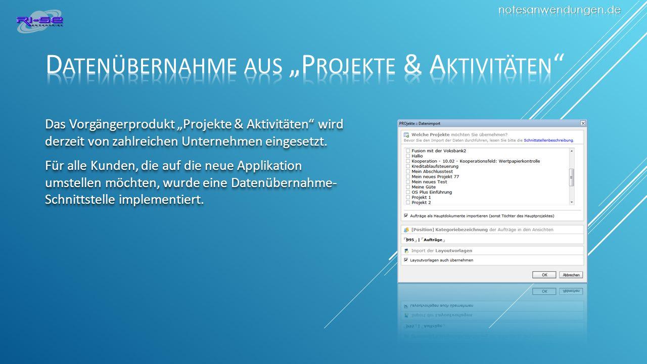 "Datenübernahme aus ""Projekte & Aktivitäten"