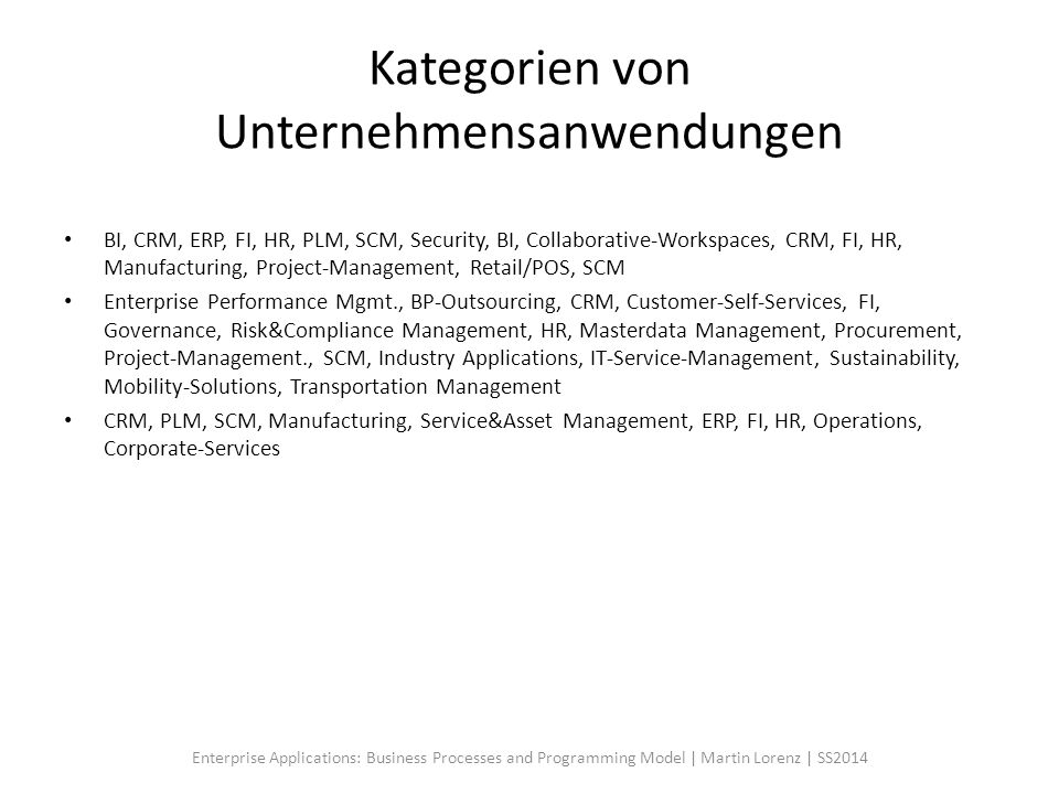 Kategorien von Unternehmensanwendungen