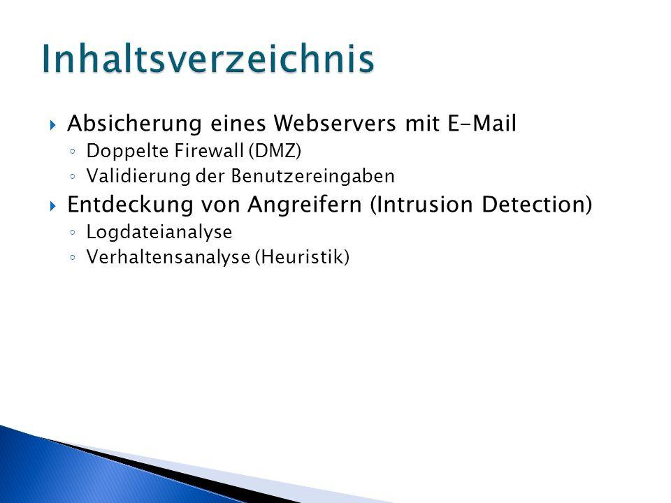 Inhaltsverzeichnis Absicherung eines Webservers mit E-Mail