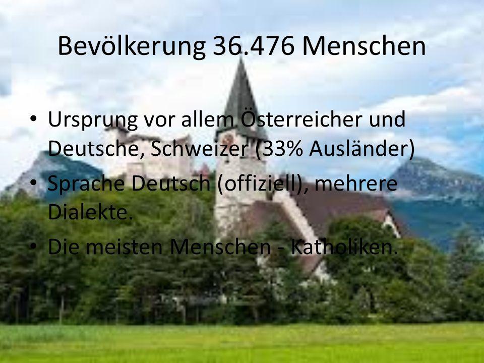 Bevölkerung 36.476 Menschen Ursprung vor allem Österreicher und Deutsche, Schweizer (33% Ausländer)