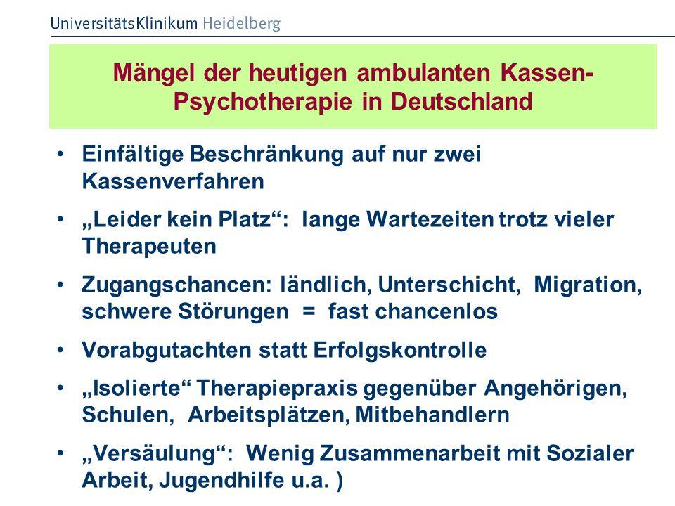 Mängel der heutigen ambulanten Kassen-Psychotherapie in Deutschland