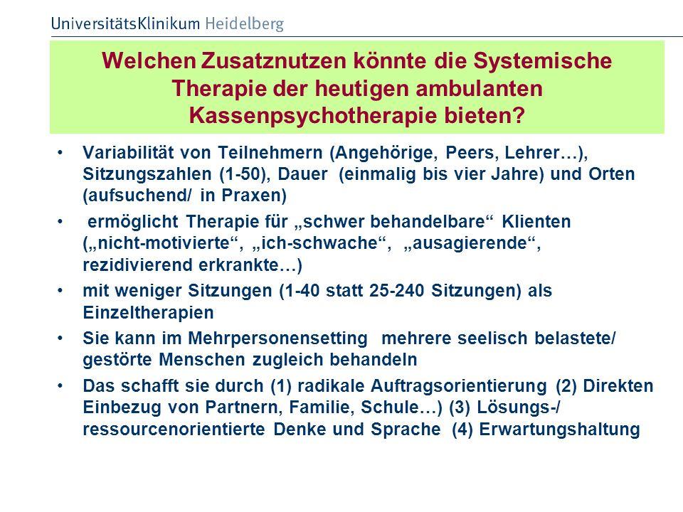 Welchen Zusatznutzen könnte die Systemische Therapie der heutigen ambulanten Kassenpsychotherapie bieten