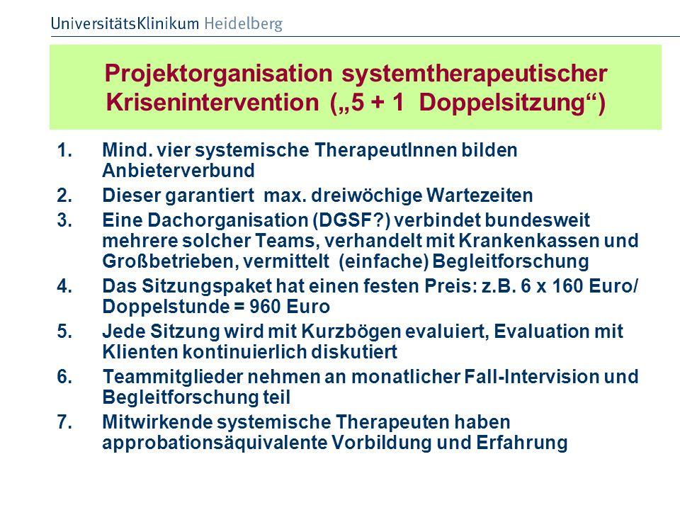"""Projektorganisation systemtherapeutischer Krisenintervention (""""5 + 1 Doppelsitzung )"""