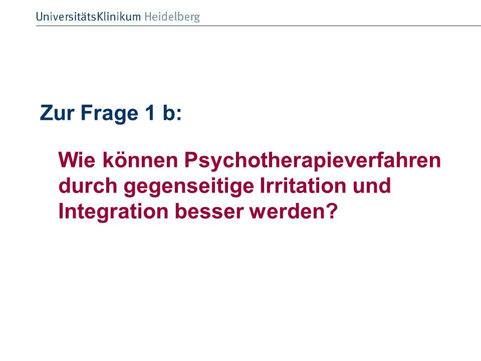 Zur Frage 1 b: Wie können Psychotherapieverfahren durch gegenseitige Irritation und Integration besser werden