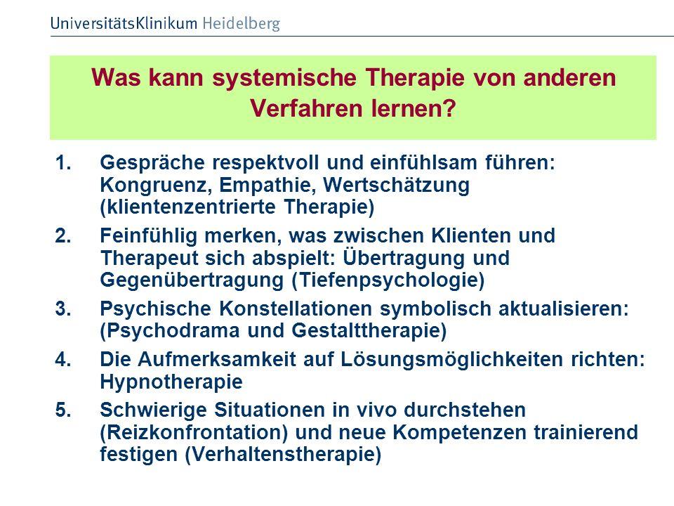 Was kann systemische Therapie von anderen Verfahren lernen
