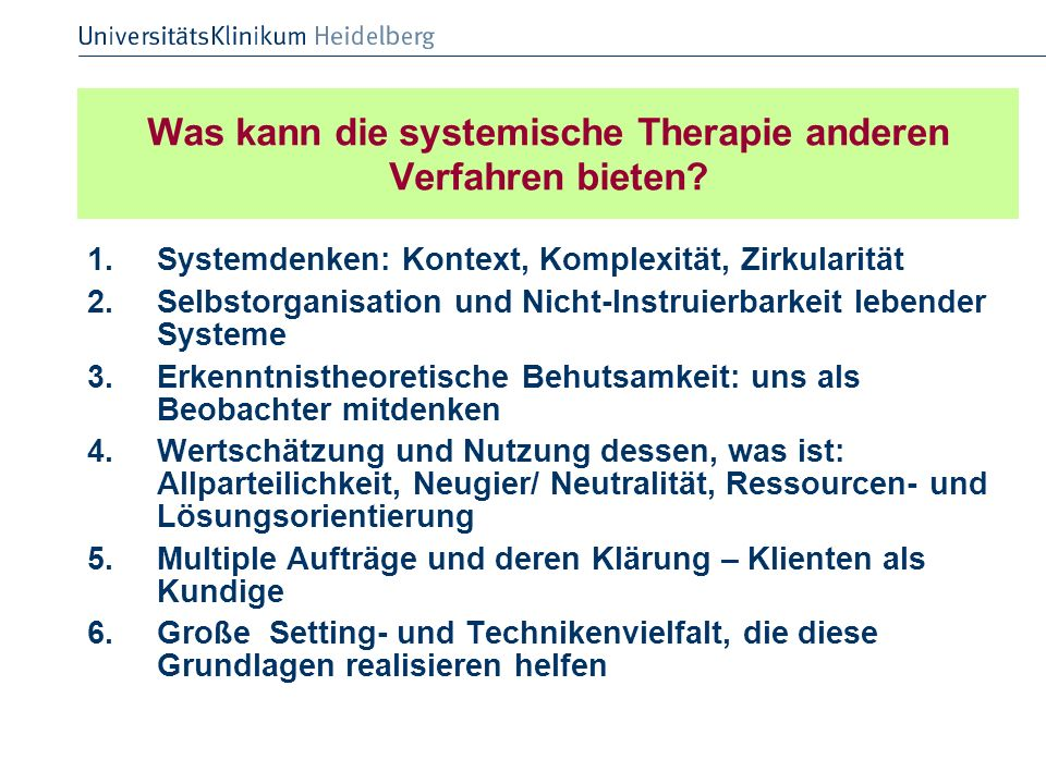 Was kann die systemische Therapie anderen Verfahren bieten