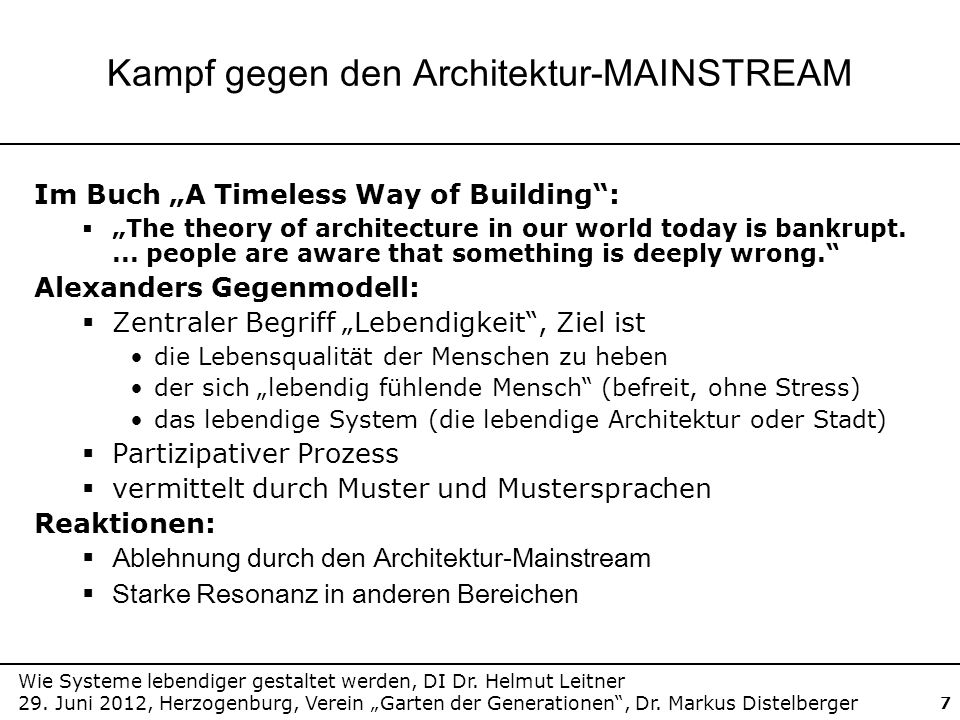 Kampf gegen den Architektur-MAINSTREAM