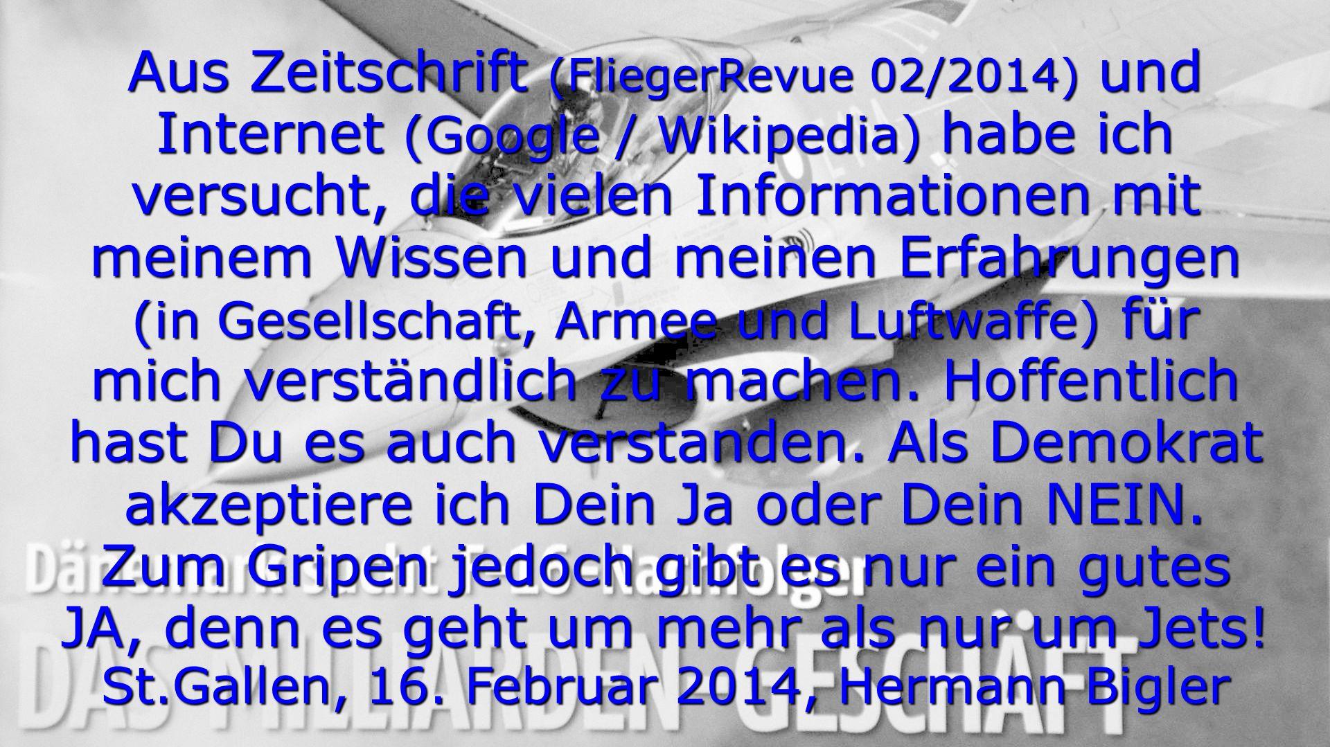St.Gallen, 16. Februar 2014, Hermann Bigler