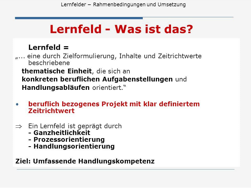 """Lernfeld - Was ist das Lernfeld = """"... eine durch Zielformulierung, Inhalte und Zeitrichtwerte beschriebene."""