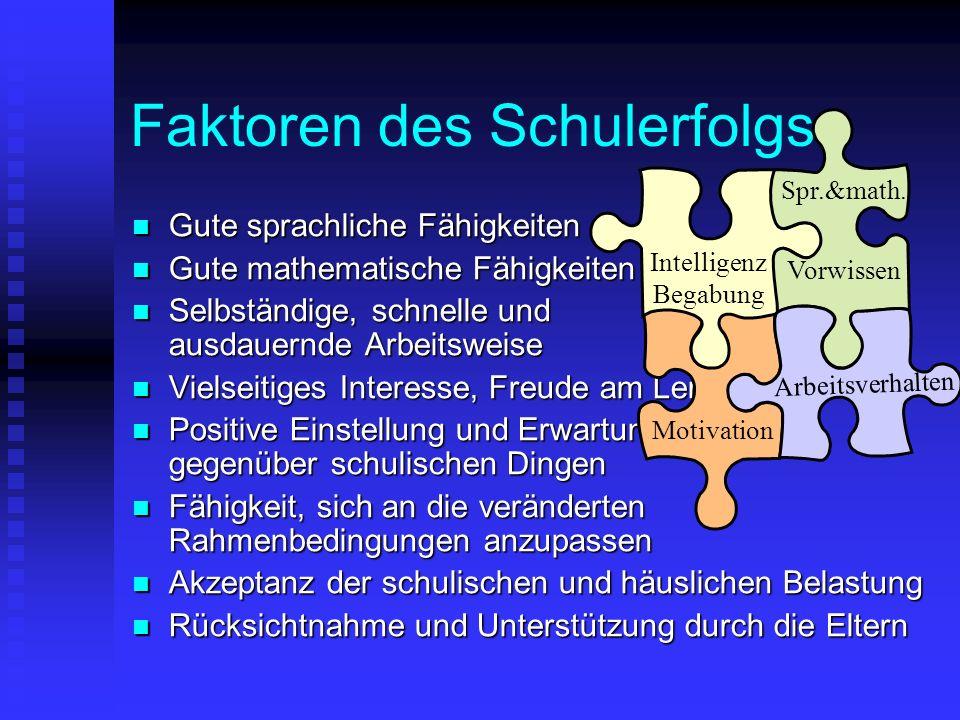 Faktoren des Schulerfolgs