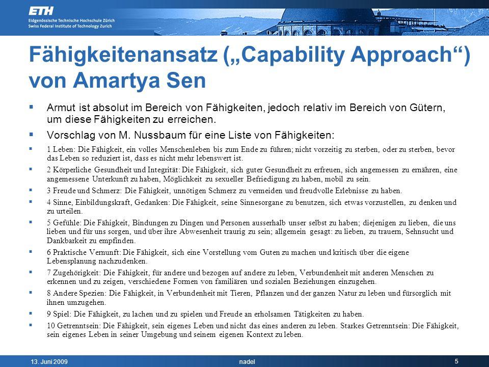 """Fähigkeitenansatz (""""Capability Approach ) von Amartya Sen"""