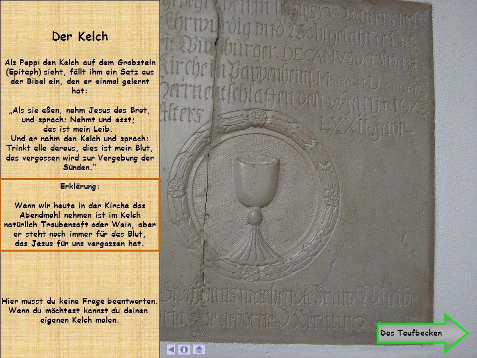 Der Kelch Als Peppi den Kelch auf dem Grabstein