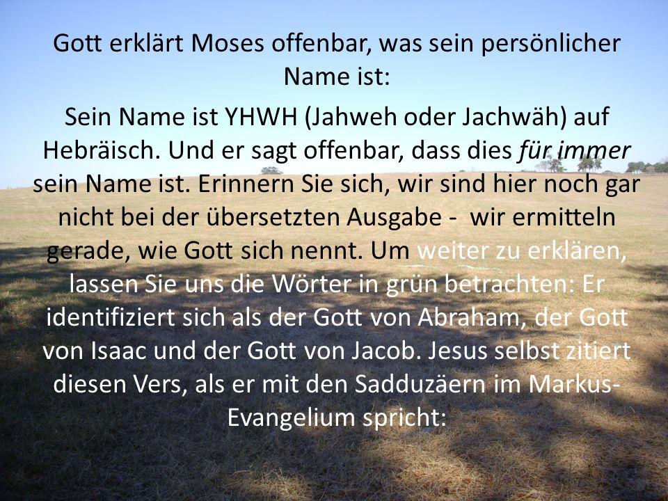 Gott erklärt Moses offenbar, was sein persönlicher Name ist: