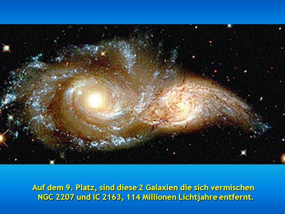 Auf dem 9. Platz, sind diese 2 Galaxien die sich vermischen