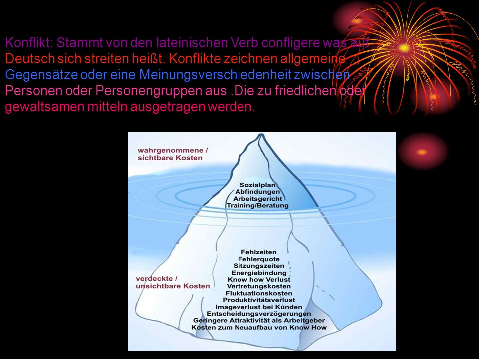 Konflikt: Stammt von den lateinischen Verb confligere was auf Deutsch sich streiten heißt.