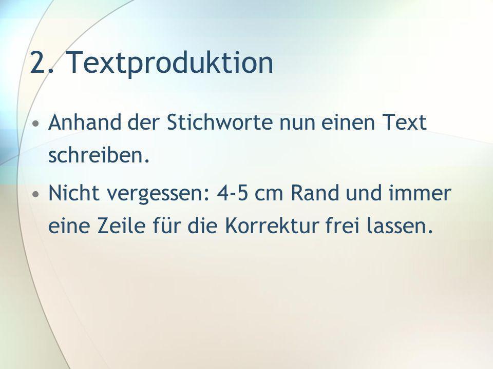 2. Textproduktion Anhand der Stichworte nun einen Text schreiben.