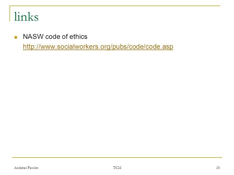 links NASW code of ethics