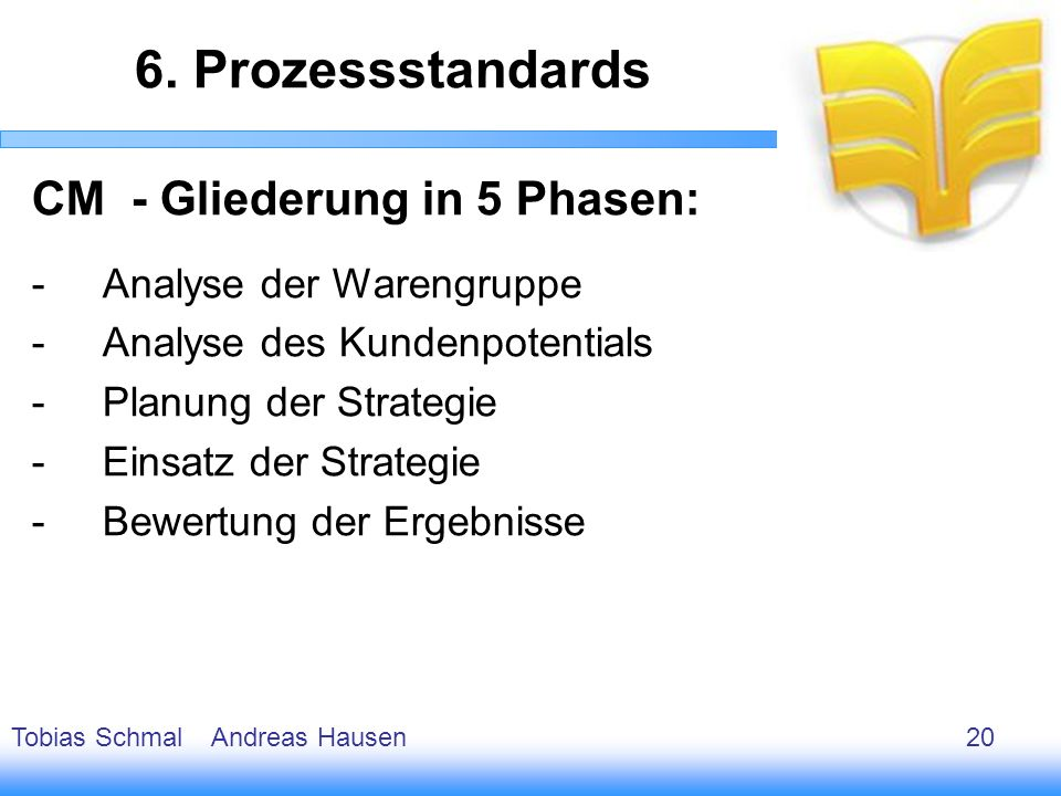 6. Prozessstandards CM - Gliederung in 5 Phasen:
