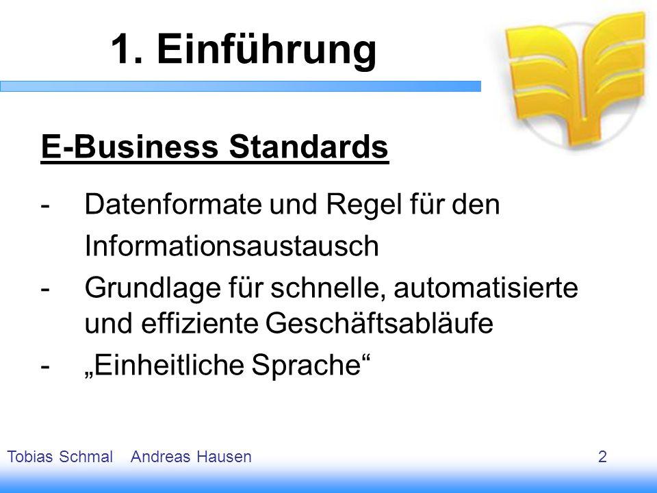 1. Einführung E-Business Standards Datenformate und Regel für den