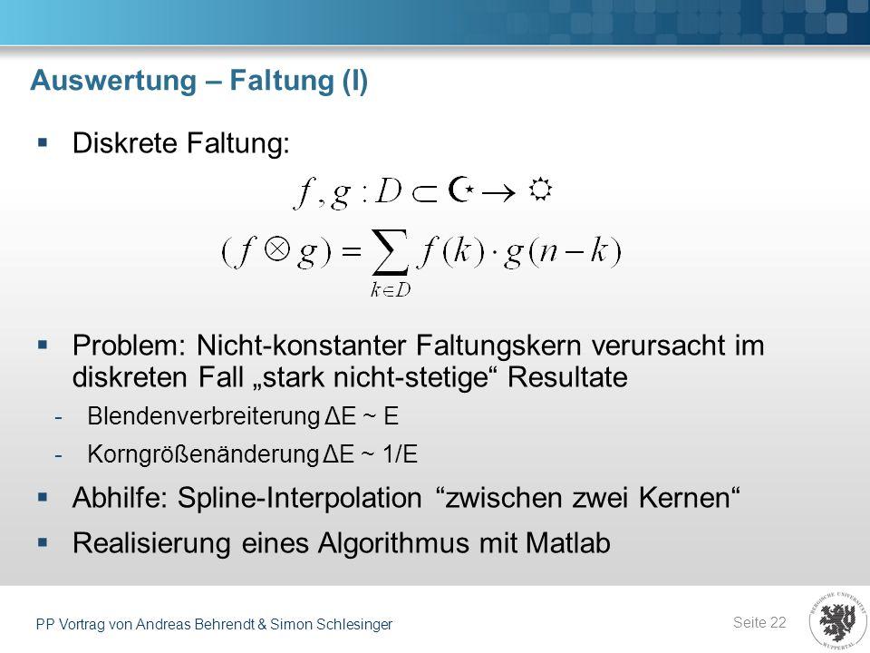 Auswertung – Faltung (I)