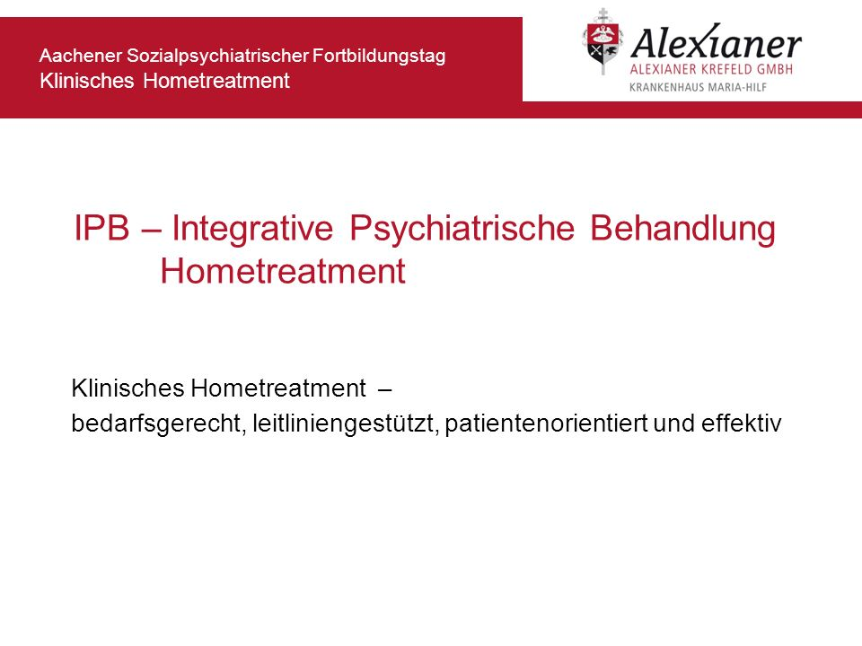 IPB – Integrative Psychiatrische Behandlung Hometreatment