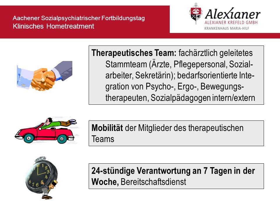 Therapeutisches Team: fachärztlich geleitetes Stammteam (Ärzte, Pflegepersonal, Sozial-arbeiter, Sekretärin); bedarfsorientierte Inte-gration von Psycho-, Ergo-, Bewegungs-therapeuten, Sozialpädagogen intern/extern