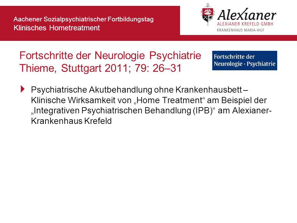 Fortschritte der Neurologie Psychiatrie Thieme, Stuttgart 2011; 79: 26–31