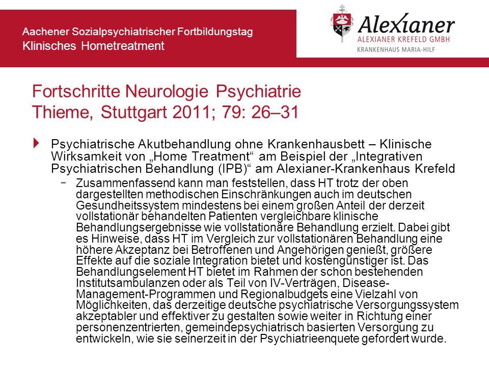 Fortschritte Neurologie Psychiatrie Thieme, Stuttgart 2011; 79: 26–31