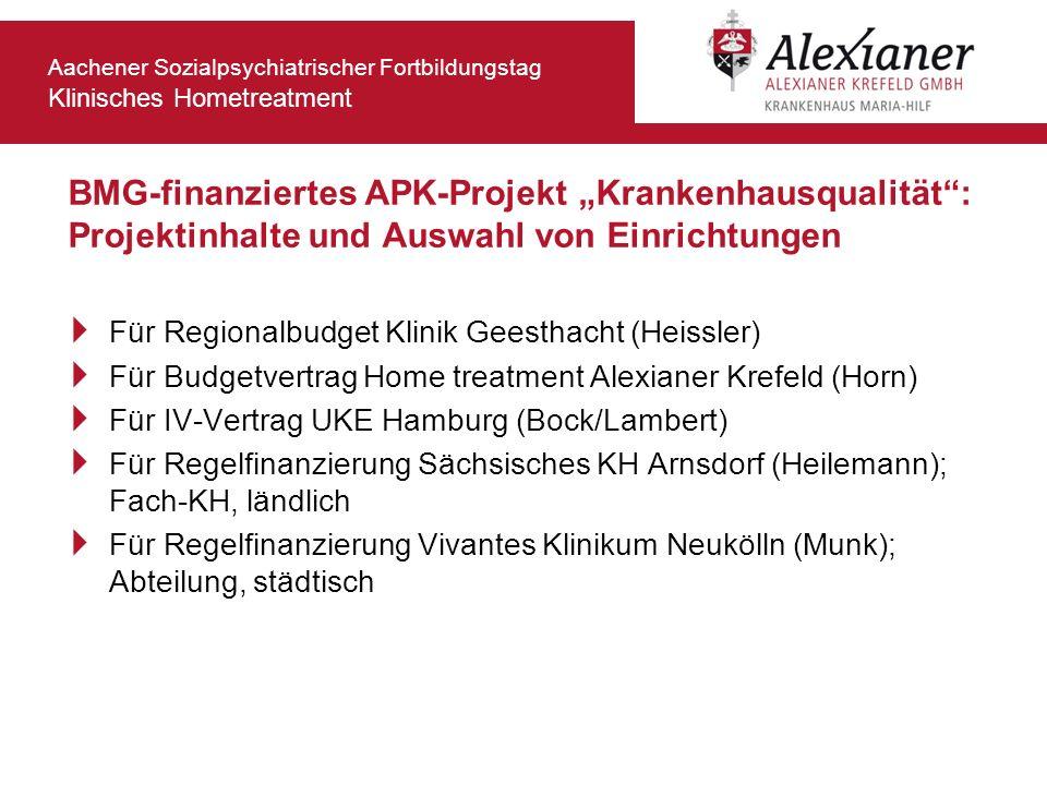 """BMG-finanziertes APK-Projekt """"Krankenhausqualität : Projektinhalte und Auswahl von Einrichtungen"""