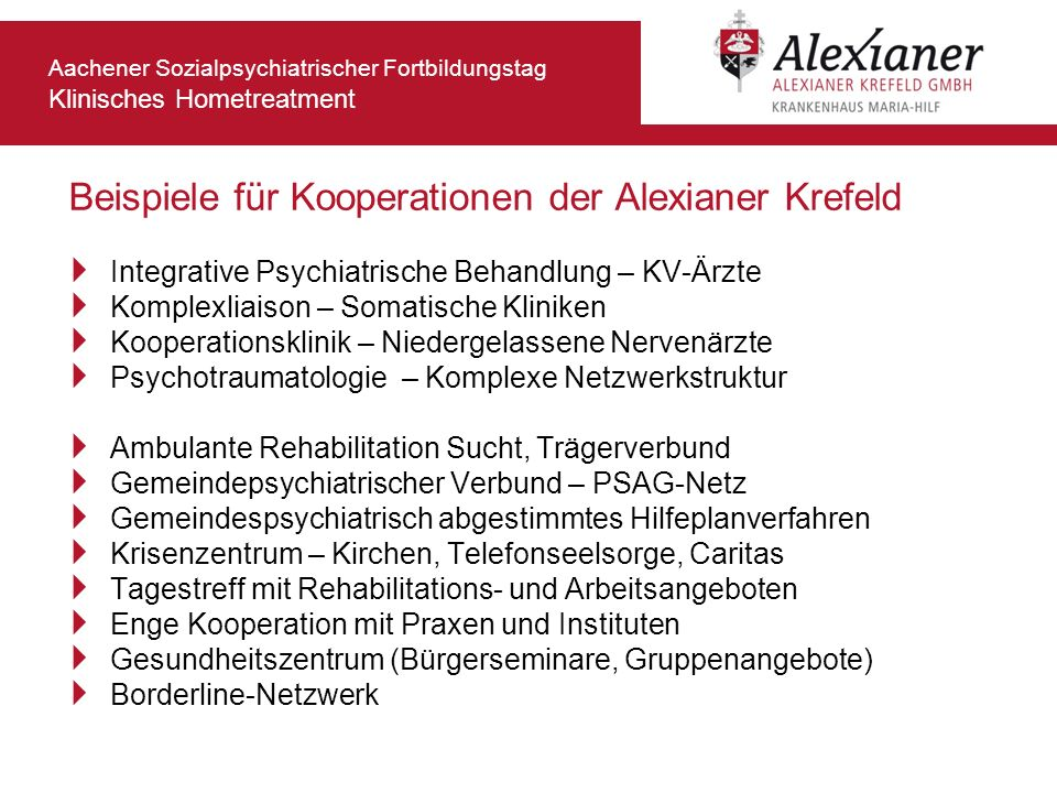 Beispiele für Kooperationen der Alexianer Krefeld