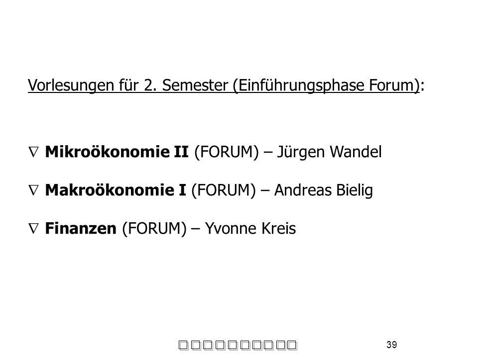 Vorlesungen für 2. Semester (Einführungsphase Forum):