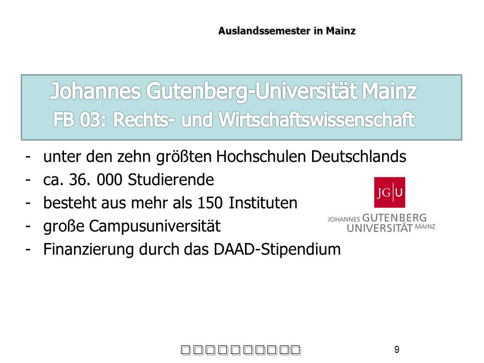 Auslandssemester in Mainz