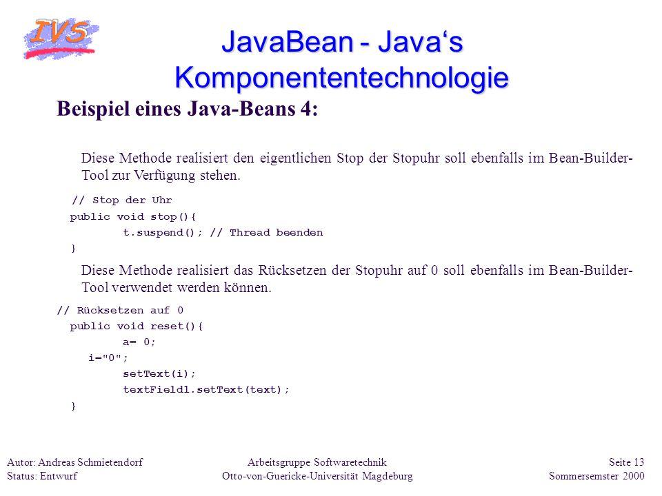 JavaBean - Java's Komponententechnologie