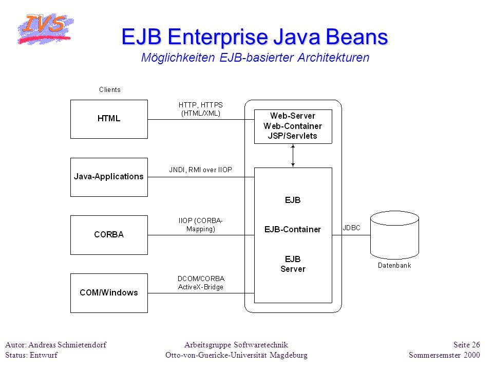 EJB Enterprise Java Beans Möglichkeiten EJB-basierter Architekturen