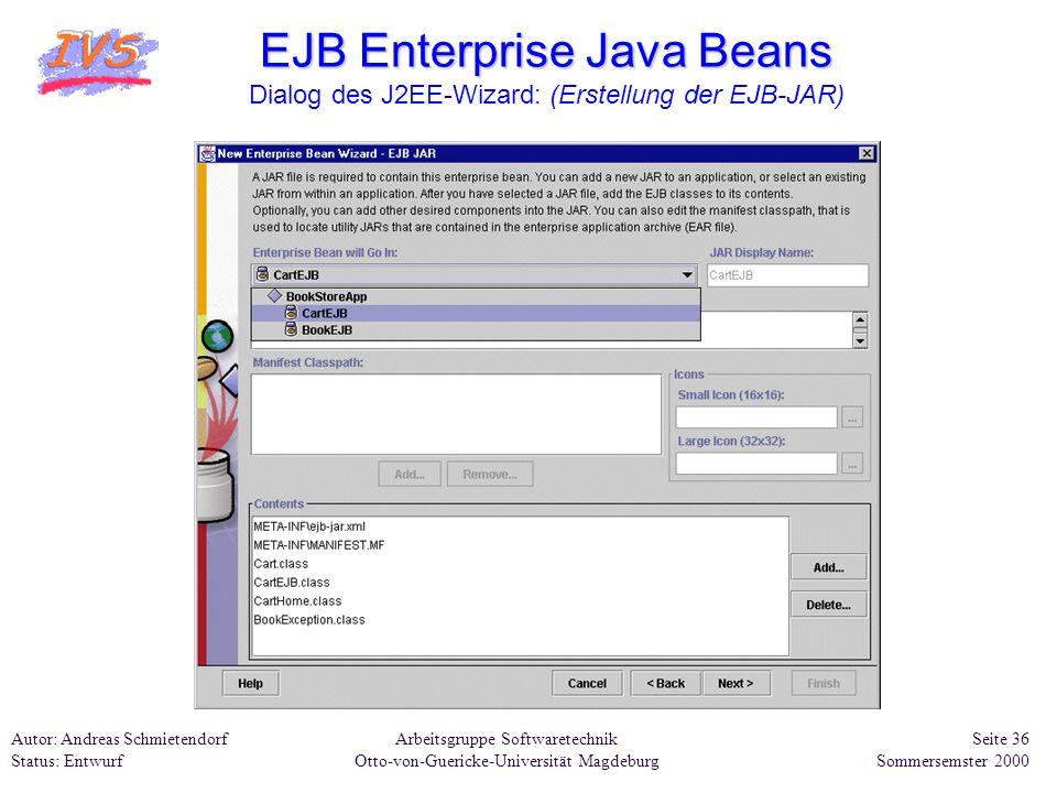 EJB Enterprise Java Beans Dialog des J2EE-Wizard: (Erstellung der EJB-JAR)
