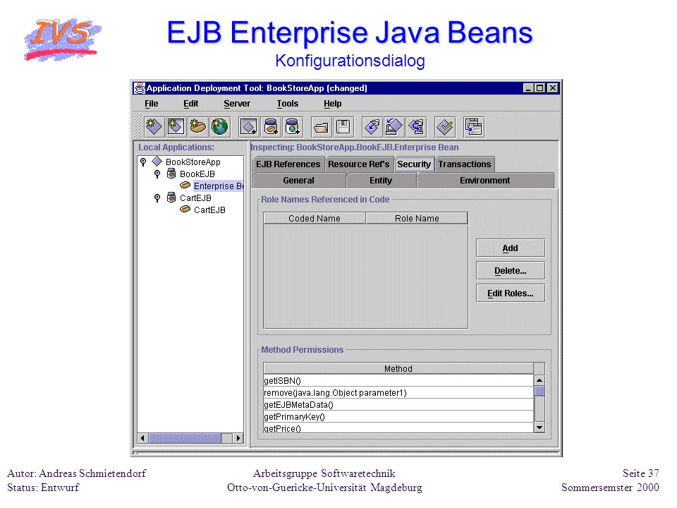 EJB Enterprise Java Beans Konfigurationsdialog
