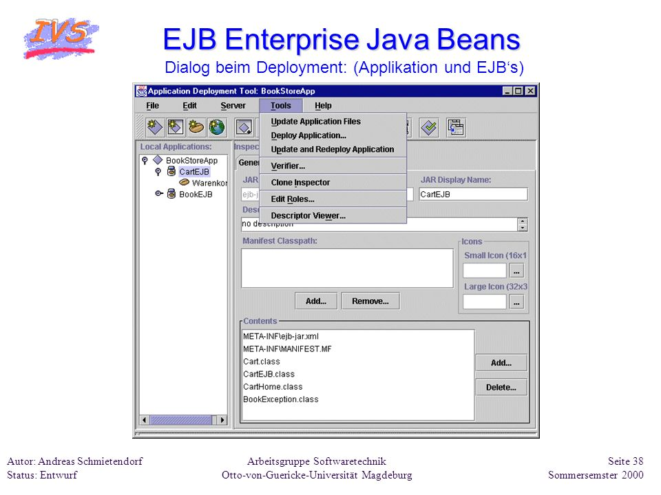 EJB Enterprise Java Beans Dialog beim Deployment: (Applikation und EJB's)