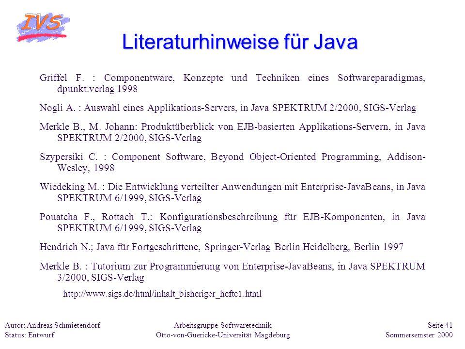 Literaturhinweise für Java