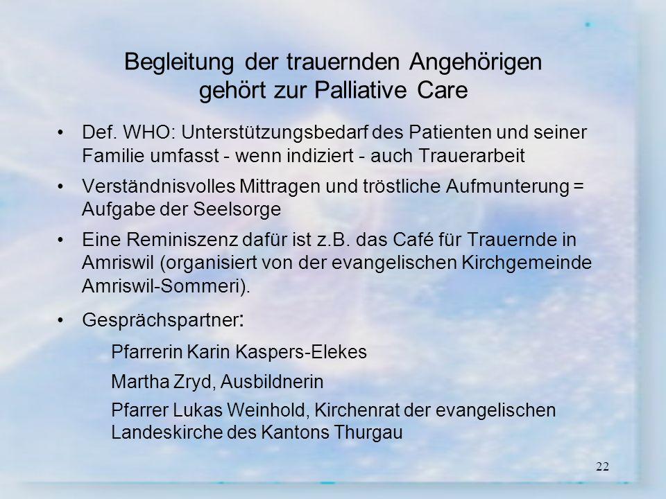 Begleitung der trauernden Angehörigen gehört zur Palliative Care