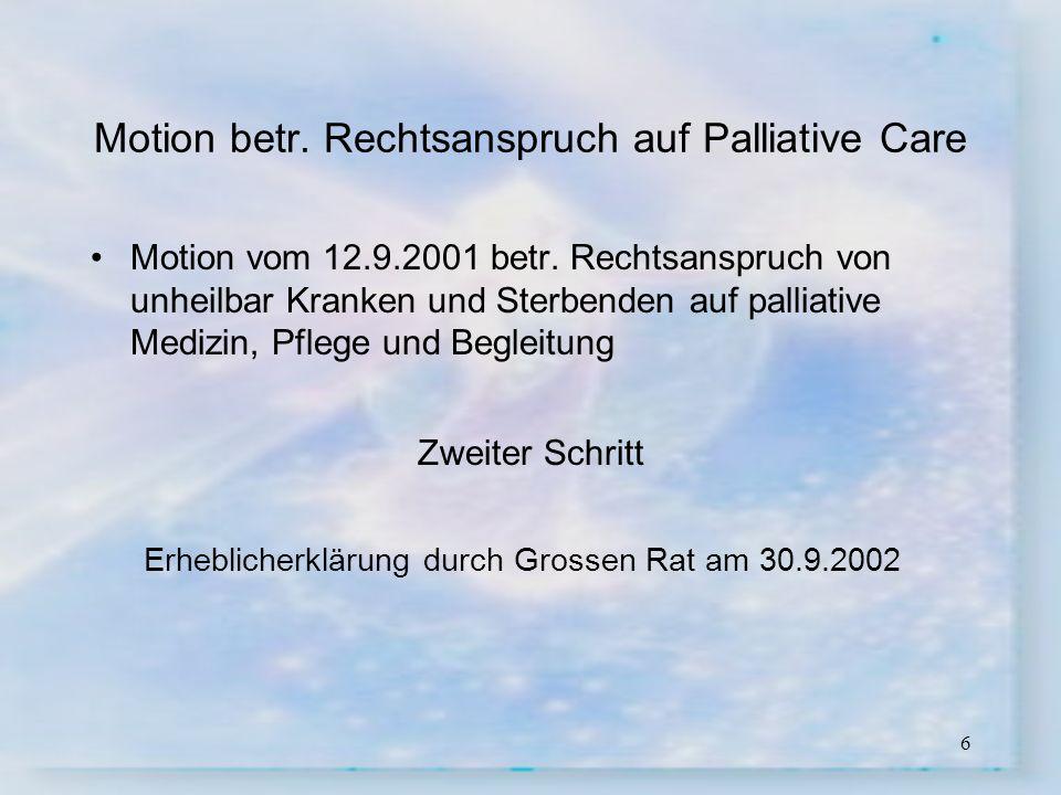 Motion betr. Rechtsanspruch auf Palliative Care