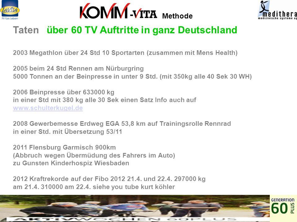 Taten über 60 TV Auftritte in ganz Deutschland